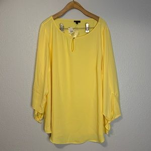 New - Talbots Yellow Key Hole Neck/Tie Sleeve Top